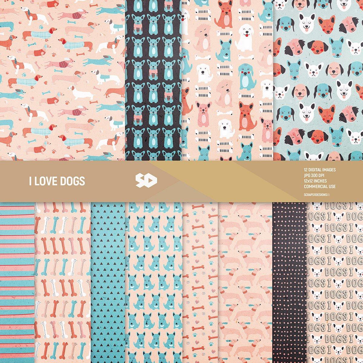 Scrapbook paper dogs - Dogs Digital Paper Pack Https Goo Gl Dfciti Scrapbook