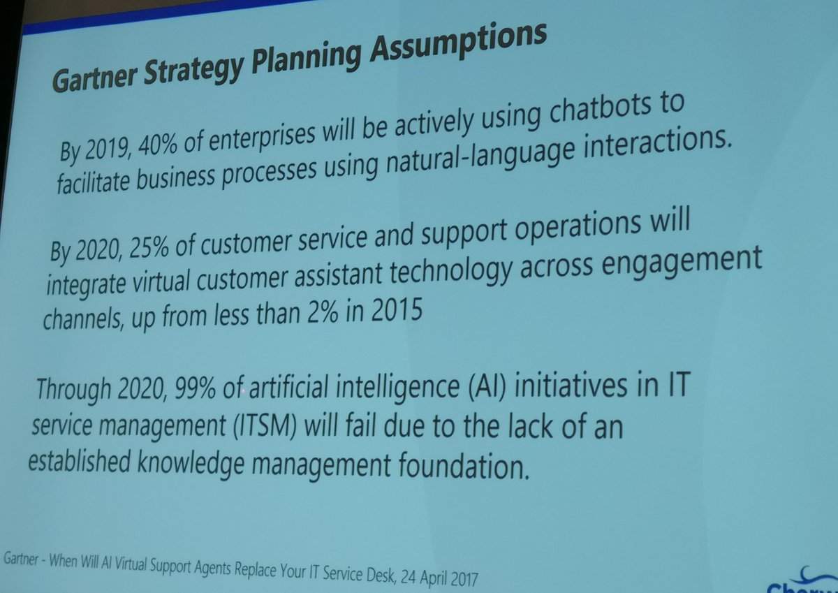 #Gartner on #AI and the IT #servicedesk ~ @chuck_darst #HDIConf #ITSM https://t.co/9s0e1GNAFk