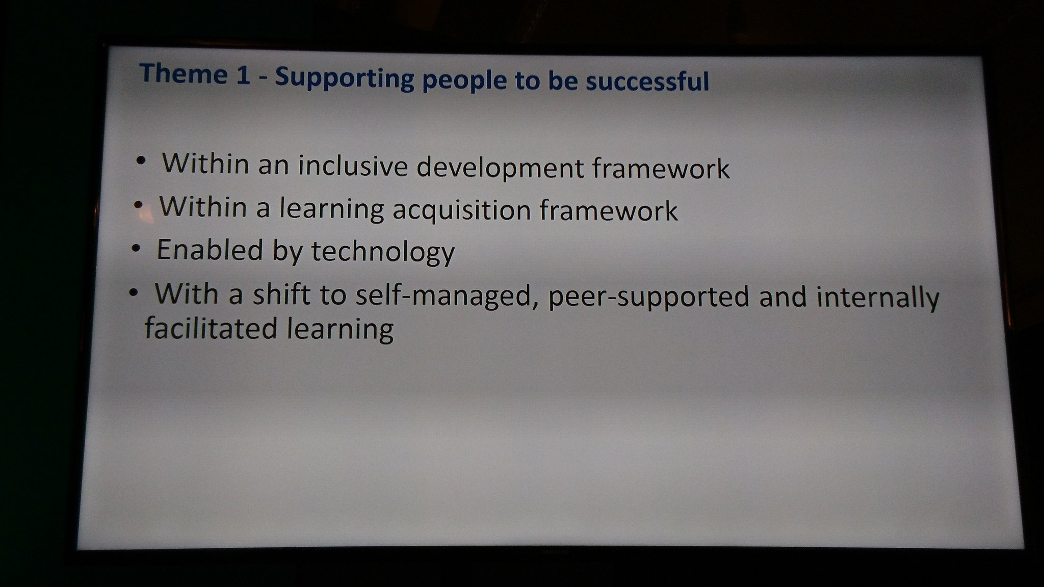.@PriceKisskadee @sarahlindsell Theme 1 is supporting people. Everyone is a facilitator and a learner. Support each other in peer learning #G2 #cipdLDshow https://t.co/9yH2WPdYek