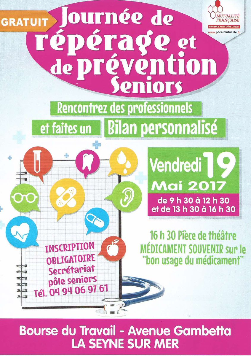 #Prévention #Santé, une étape importante de l'autonomie des citoyens. RDV le 19 mai à #LaSeyneSurMer. olivierandrau.fr/2017/05/senior…