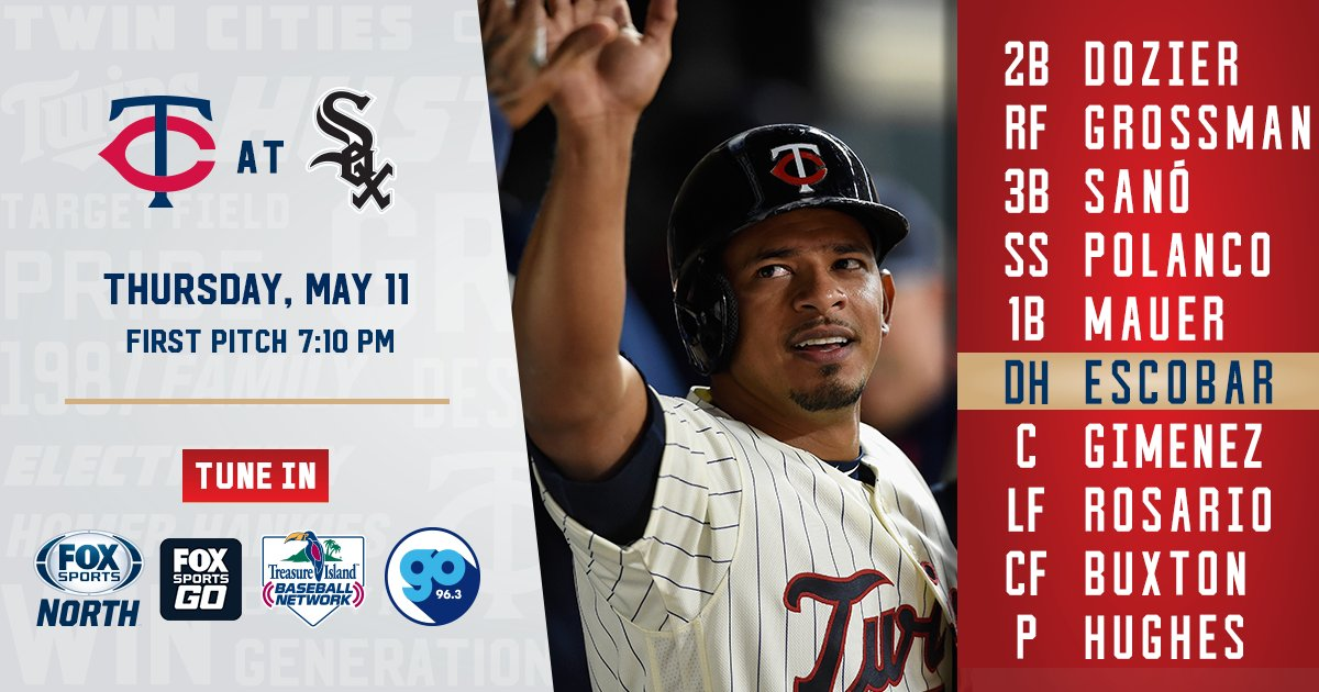 #MNTwins are back tonight. Here's how they line up v. the White Sox. https://t.co/4vqiiO10wo https://t.co/OV66x51hOl