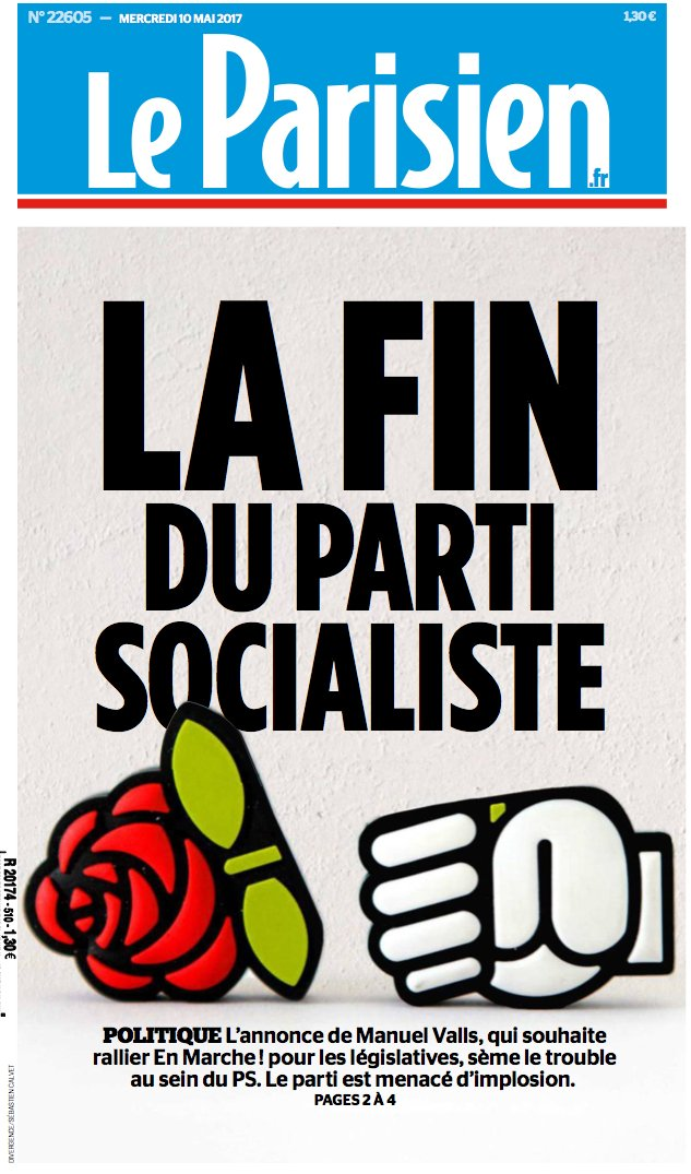 This part of the #France story may escape attention, but &quot;the end of the #Socialist Party&quot; (proclaimed by #LeParisien) is a monumental event <br>http://pic.twitter.com/wv7cG1GiHY