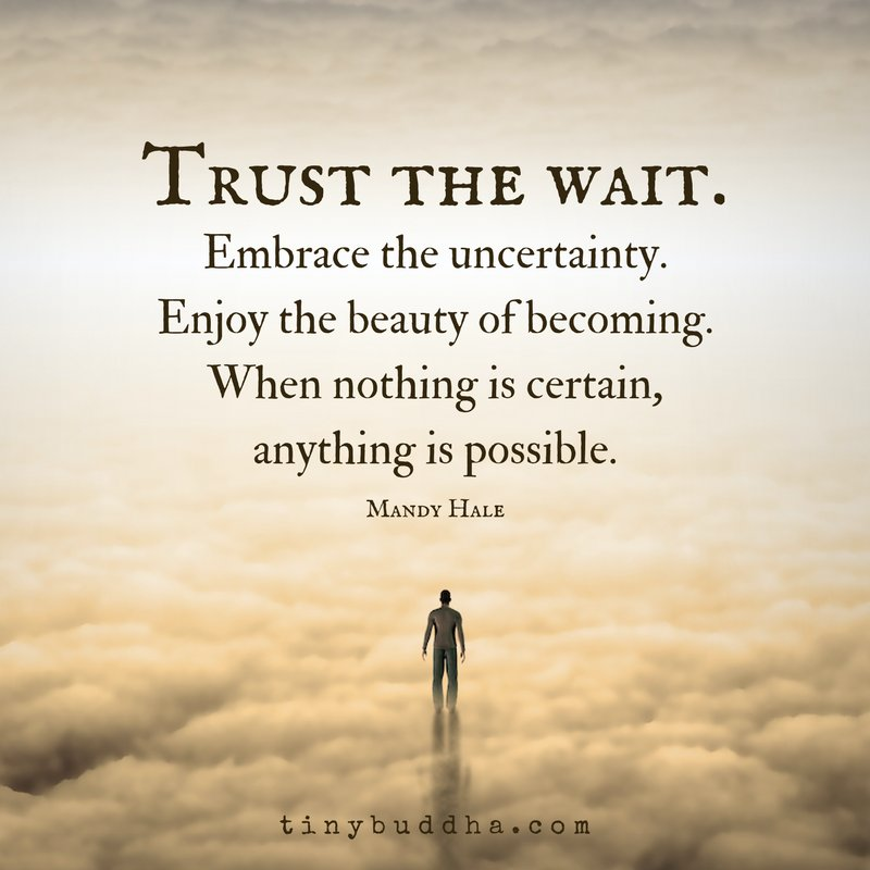 """trust The Wait. Embrace The Uncertainty. Enjoy The Beauty"