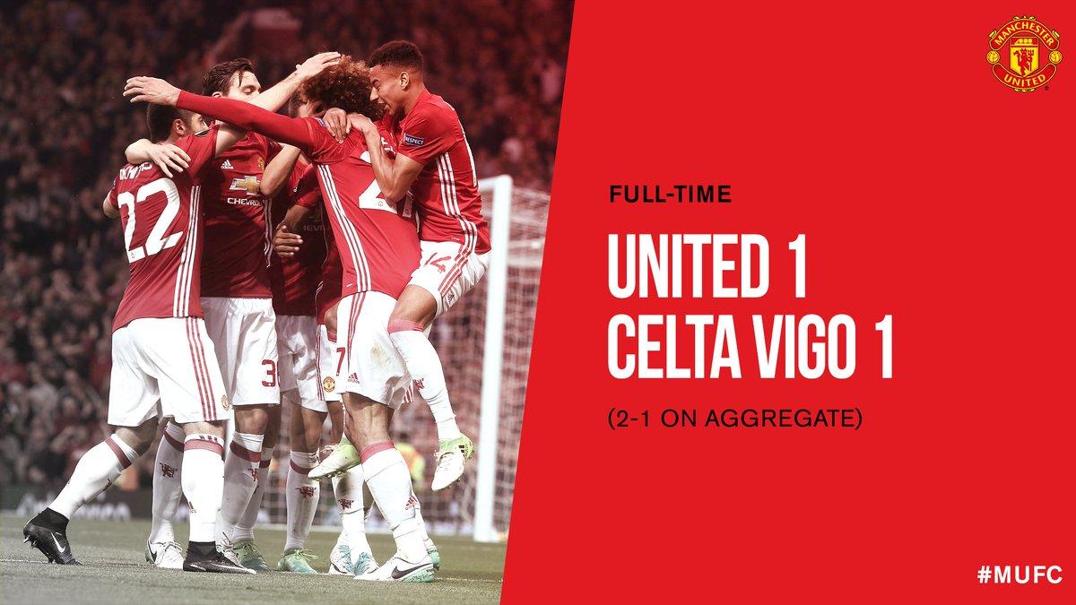 FT: #MUFC 1 Celta Vigo 1 (2-1 on aggregate).   We're into the @EuropaLeague final! 😃🙌🎉 #UEL