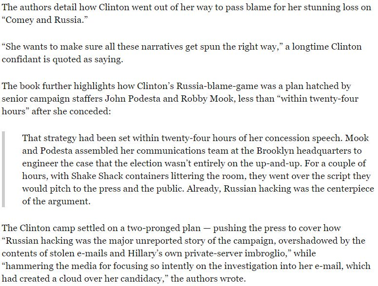 """New book by 'Shattered' by Clinton insiders reveals that """"blame Russia"""" plan was hatched """"within twenty-four hours"""" of  election loss."""