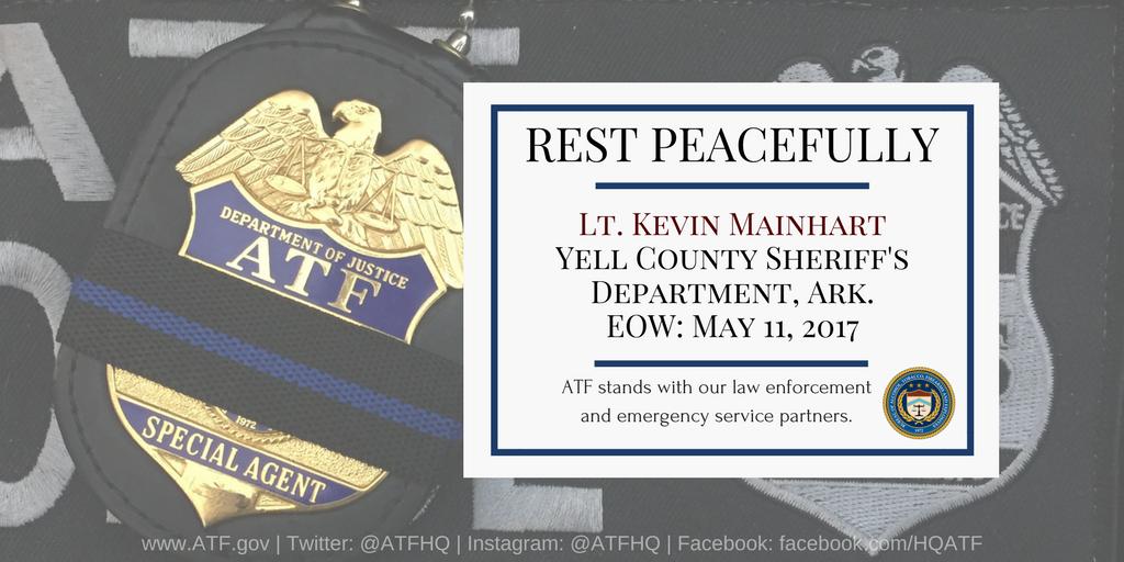 MT @ATFHQ: We mourn Yell Cnty Sheriffs &amp; family of Lt. Mainhart, killed during traffic stop. <br>http://pic.twitter.com/DGPsquMt5u #BlueLivesMatter #PJNET