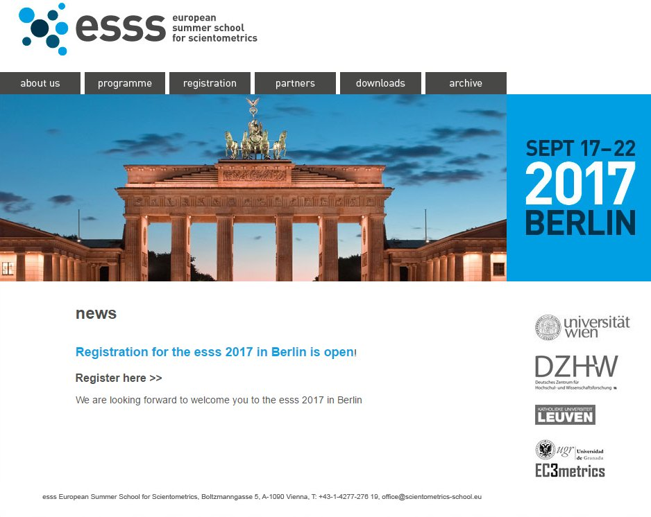 European Summer School for #Scientometrics: Registration for ESSS 2017 is now open! #openscience, #altmetrics  http:// goo.gl/dfrr6P  &nbsp;  <br>http://pic.twitter.com/A0VMkuJh8F