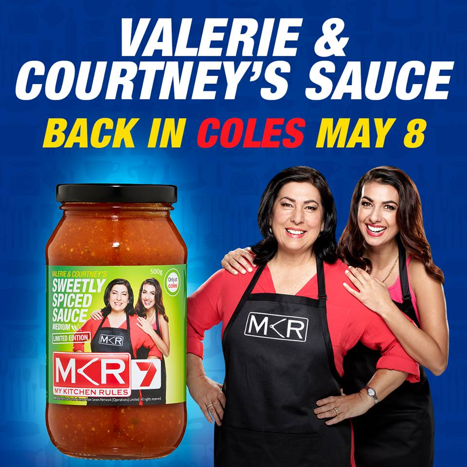 Valerie & Courtney's Sweetly Spiced Sauce is back at Coles next Monday! Get in early - while stocks last! #MKR