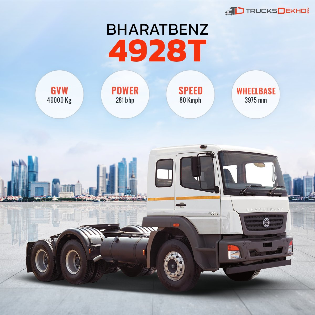 """TrucksDekho on Twitter: """"#Bharatbenz 4928's comfortable interior, load  carrying capacity & durability make it a great mile-muncher."""