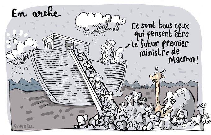 EN ARCHE .  (dessin publié dans Le Monde).