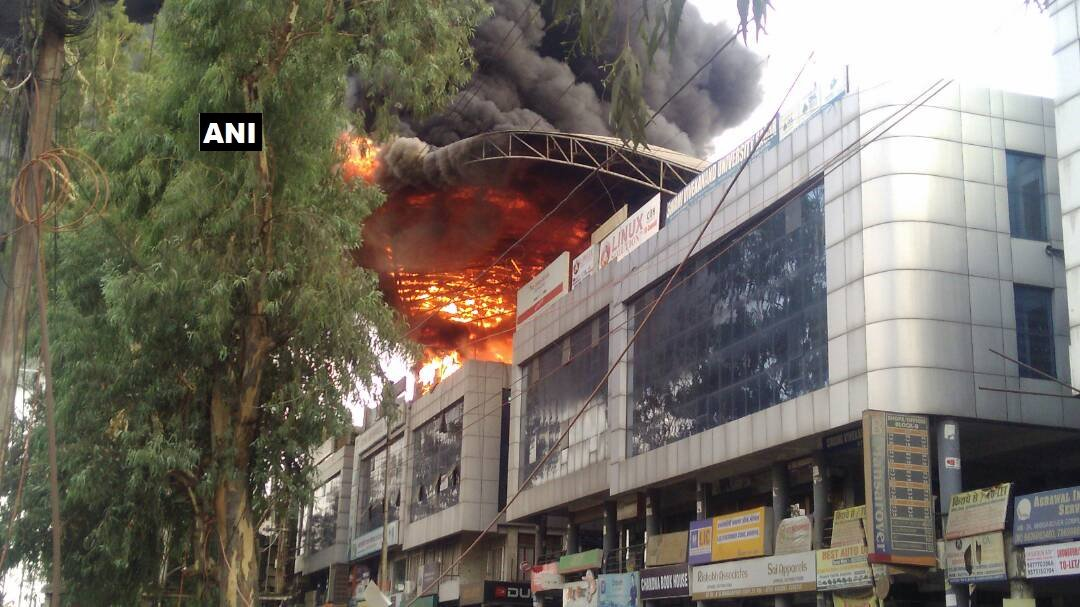 mp fire breaks out at the terrace of mansarovar complex