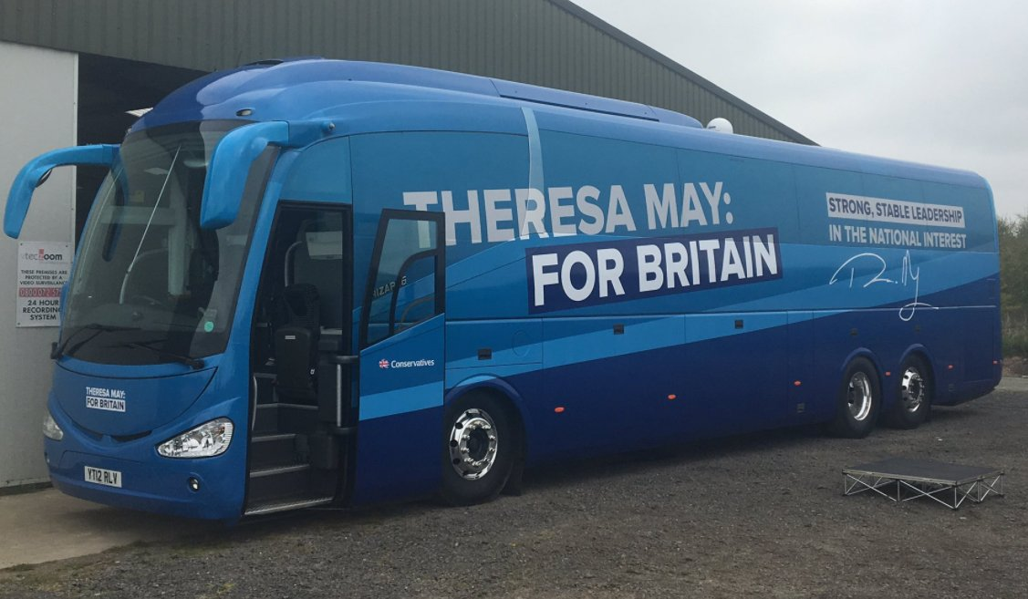 "If you check the numberplate, Theresa May is now touring the country in last year's ""Remain"" bus. https://t.co/TV2DE2VyZo"