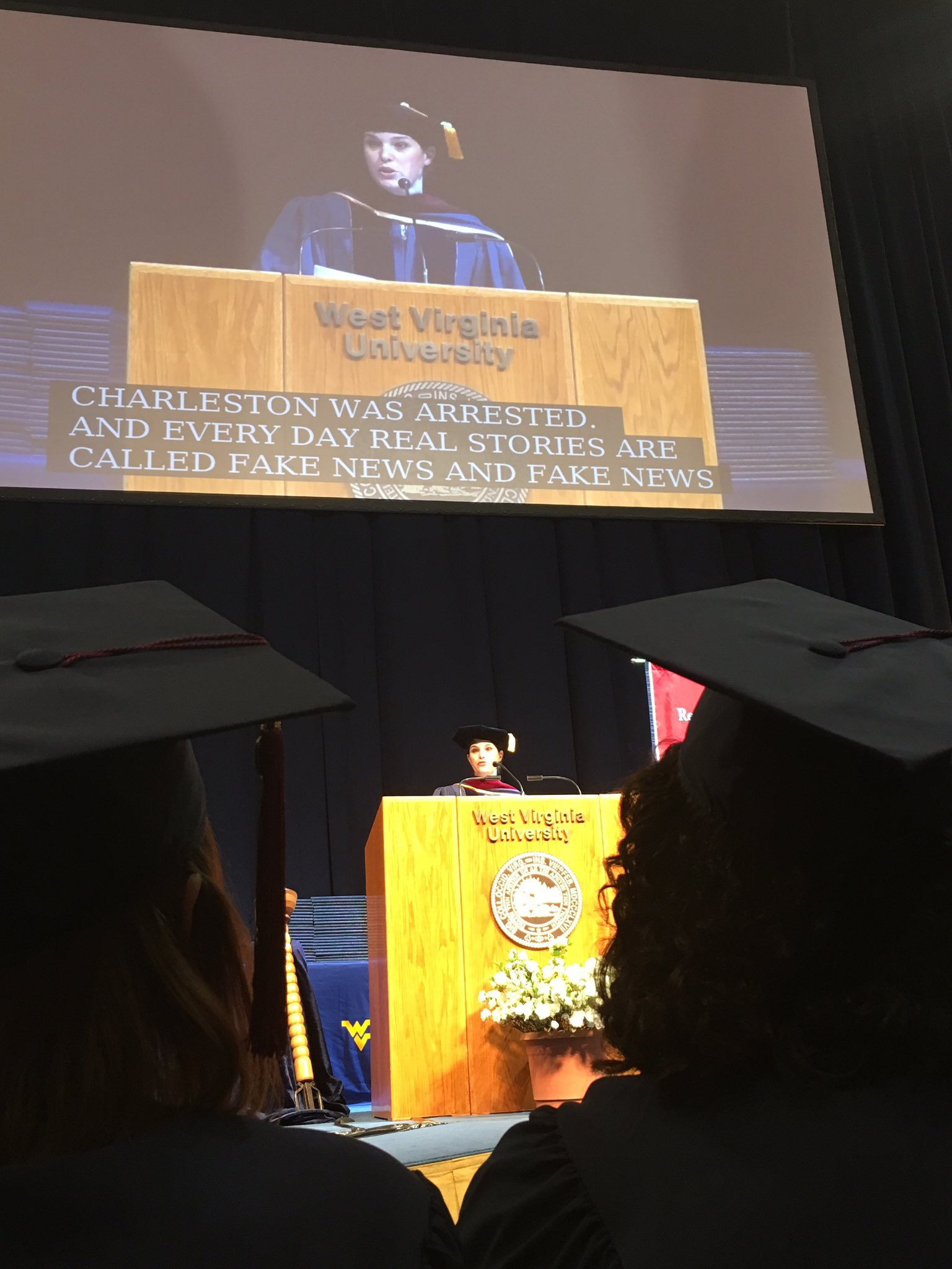 """@MargieMasonAP speaking at @wvumediacollege graduation: """"Now is an exciting time to be working in communications."""" https://t.co/fmgyCEOg5R"""