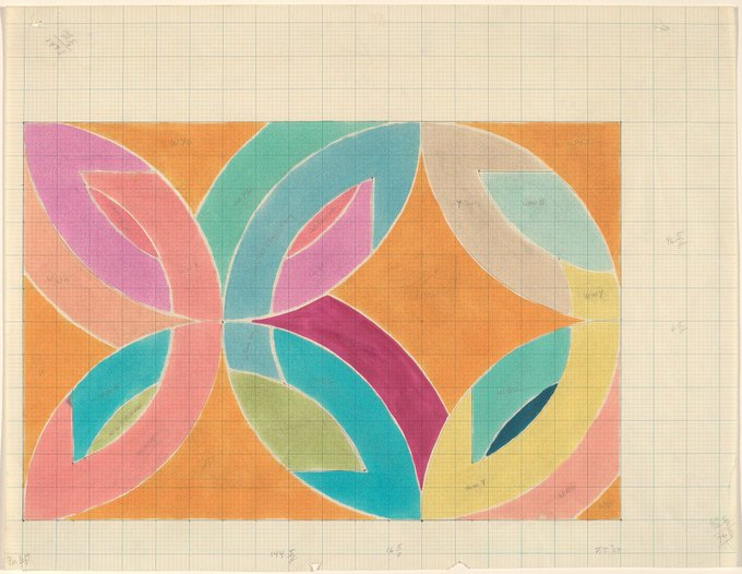 Happy birthday Frank Stella, still alive \n\ kicking! Lac La Rouge II, watercolor on graph paper, 1969