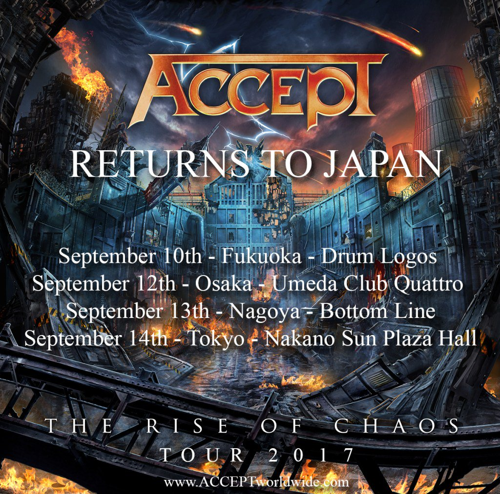 ACCEPT Announce Japan Tour 2017 #theriseofchaos #accept #heavy metal #wolfhoffmann… https://t.co/YxyROG7Af0 https://t.co/hQiBGmFVOR