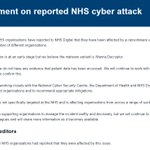 Full statement from @NHSDigital on  #nhscyberattack; @NHSDigital says attack is also affecting other organisations https://t.co/JMq98zVW8x