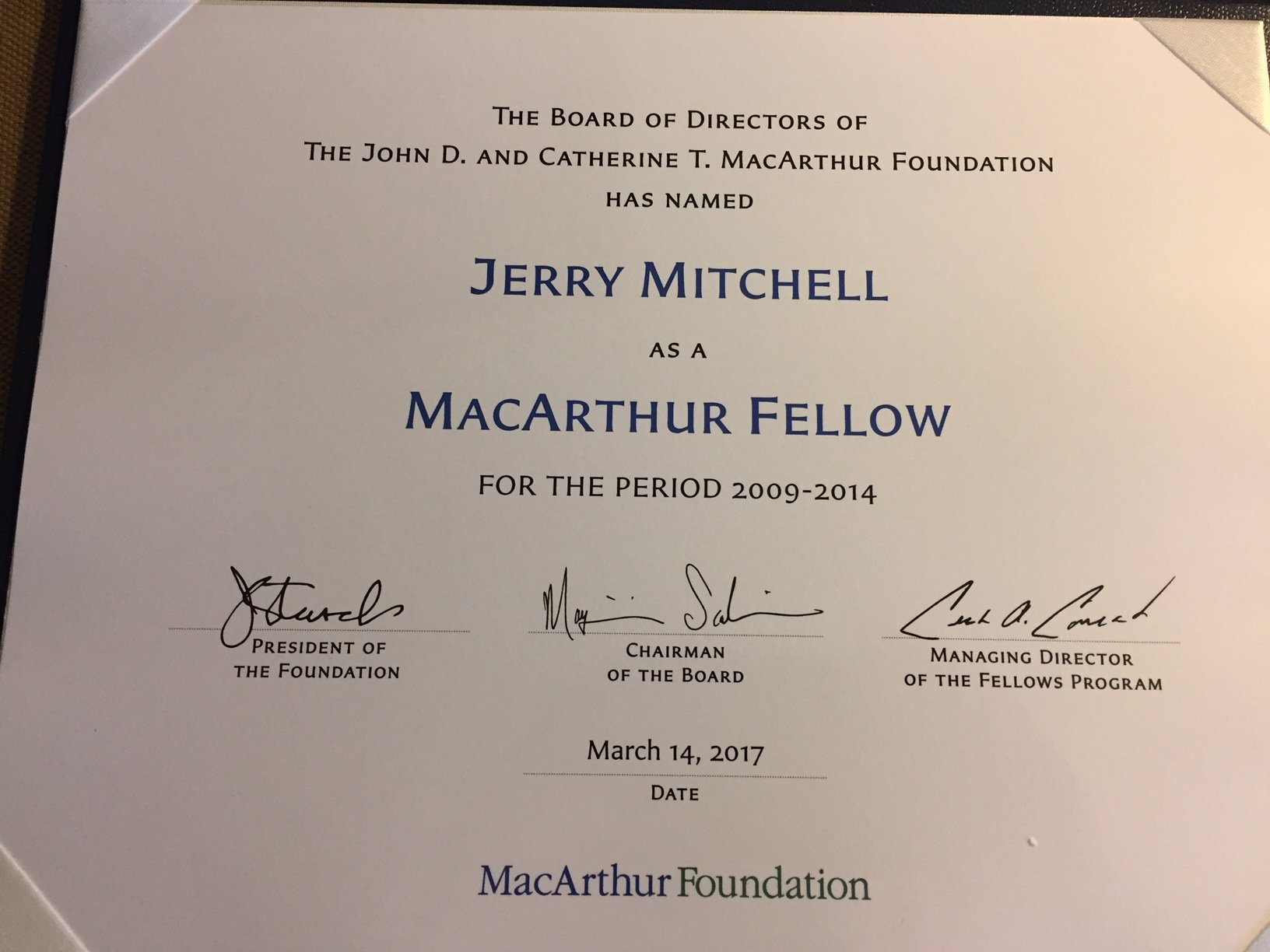 Jerry Mitchell On Twitter Just Got This In The Mail Today Pretty Cool Macfound Macarthurfellows Flashbackfriday