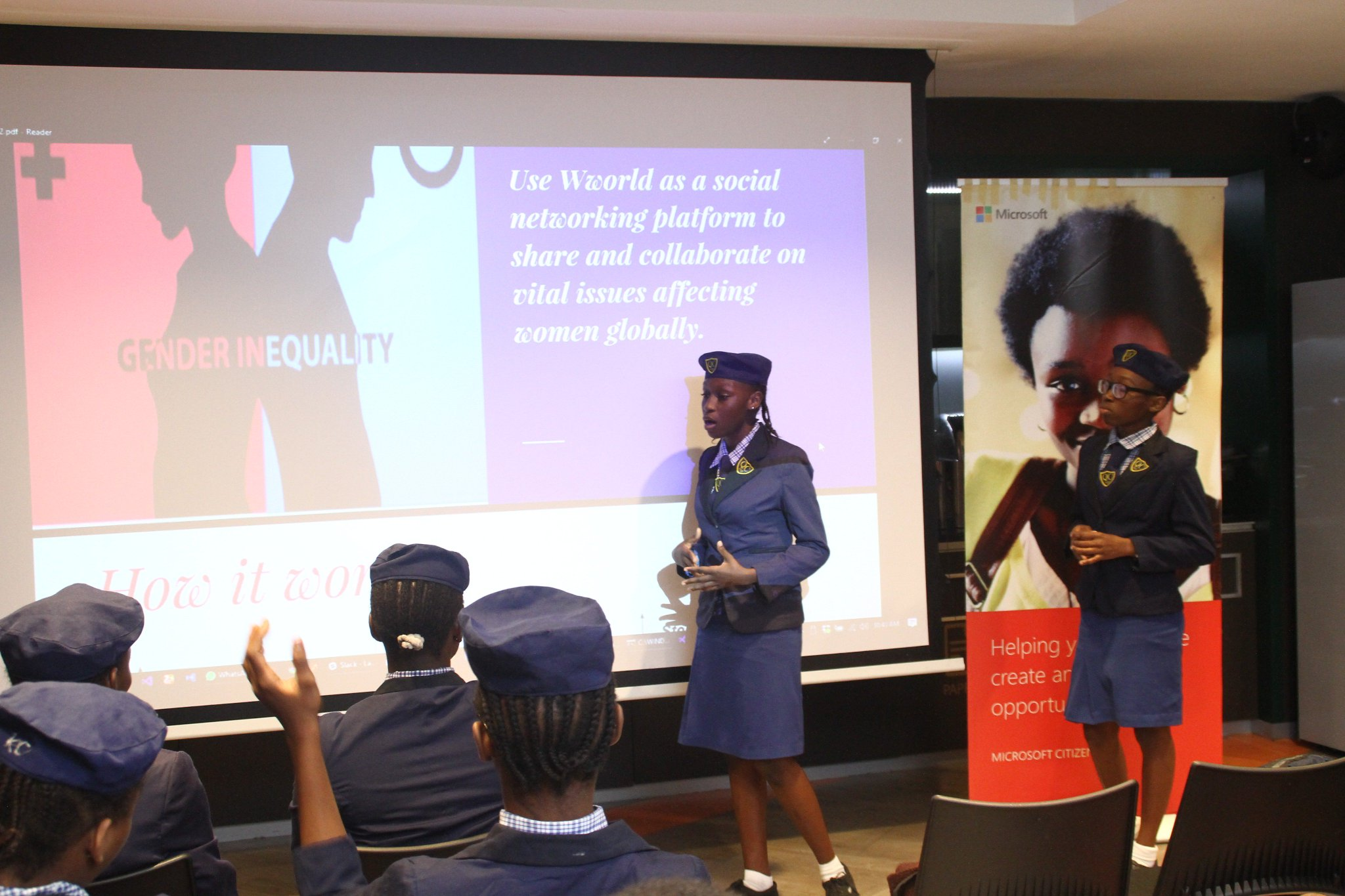 Beautiful presentation by #TeamSpeed on #Wworld app @technovation celebration event @MicrosoftNG https://t.co/XfuoGDQN0h