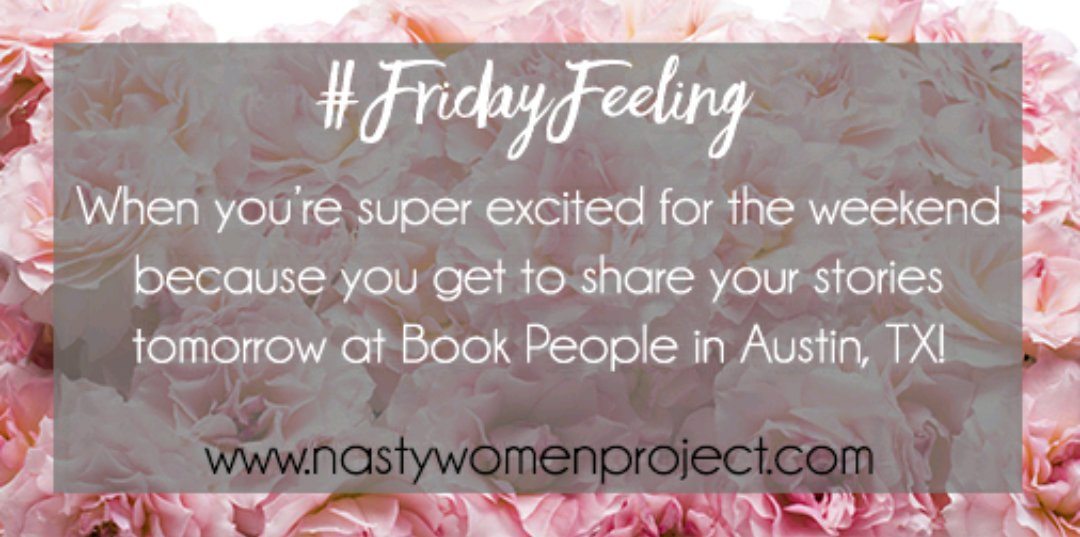Join us tomorrow 2 P.M. @bookpeople as we share our stories! #FridayFe...