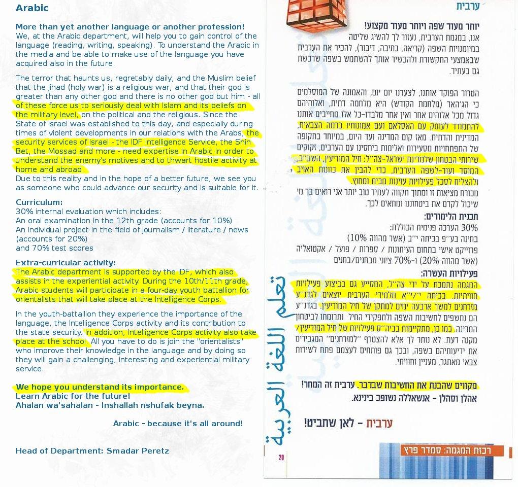 islamophobia in israeli education ministry
