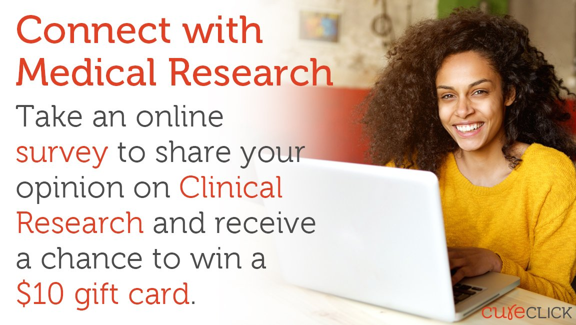 Share your thoughts on a #ClinicalTrials survey! Enter for a chance to win $10 gift card. https://t.co/wZbVCx4Erc https://t.co/GEJIbSo6SO