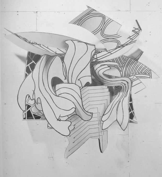 Frank Stella, paper sketch for The Dart. Happy birthday,
