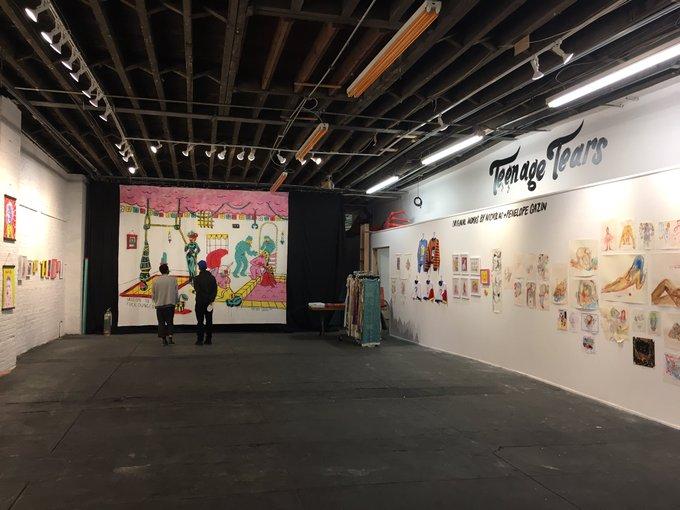 Superchief gallery, 1628 Jefferson in Brooklyn is still showing 'Teenage Tears' the art of @PenelopeGazin and @NicholasGazin until May 21