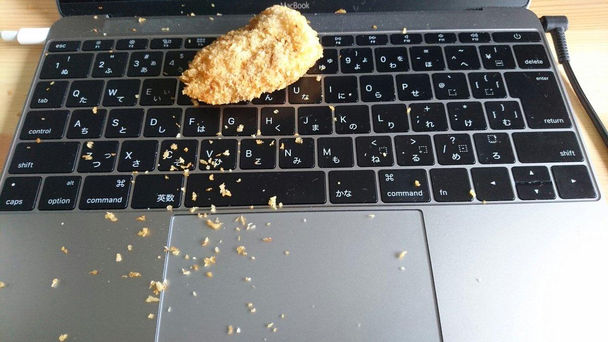 優しいからMacBookにお昼のカツ分けてあげてる。 https://t.co/VPYiKWFHVk