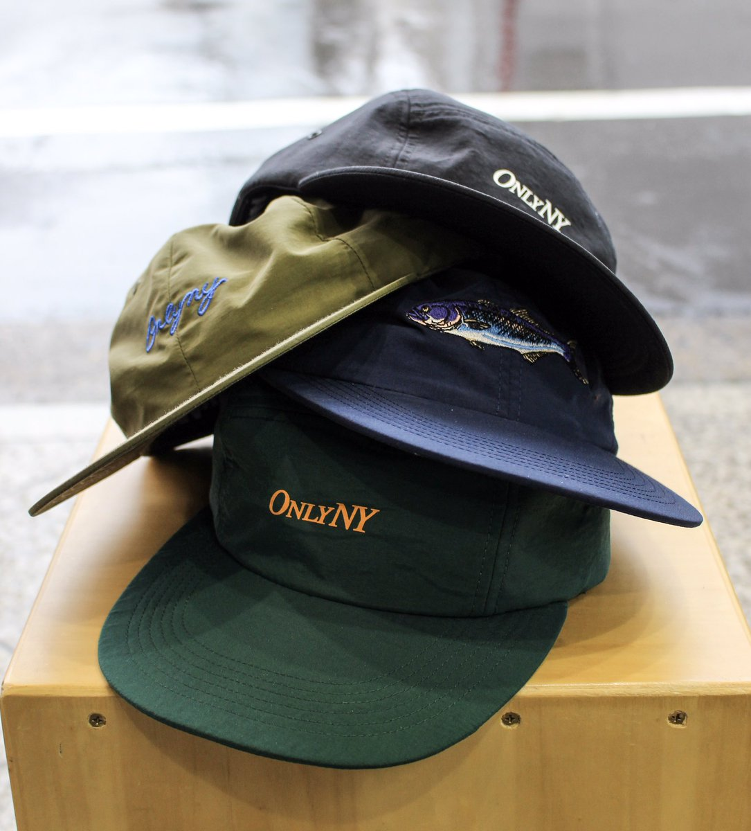 c0fe74fc58b14f ''ONLY NY'' Range 5-Panel [Pine/Black] Lodge Polo Hat [Olive] Bluefish Polo  Hat [Navy] 100% Lightweight nylon from Japan. #OnlyNY pic.twitter.com/zG8WSpazM5