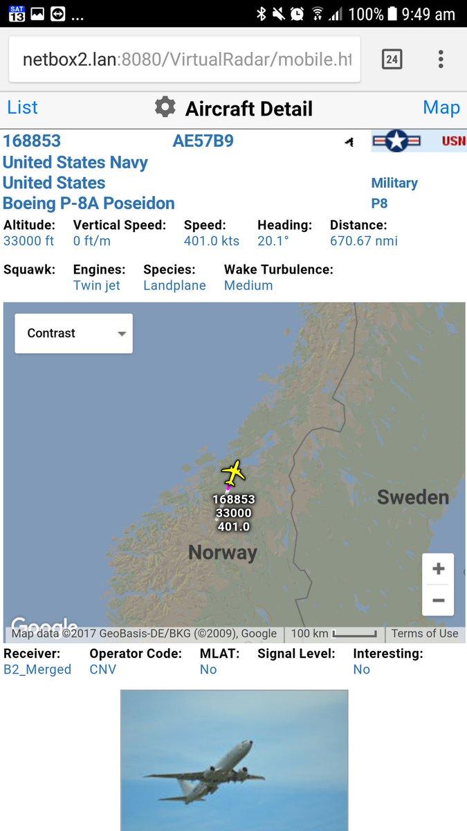 US Navy P-8A Poseidon Heading over Norway