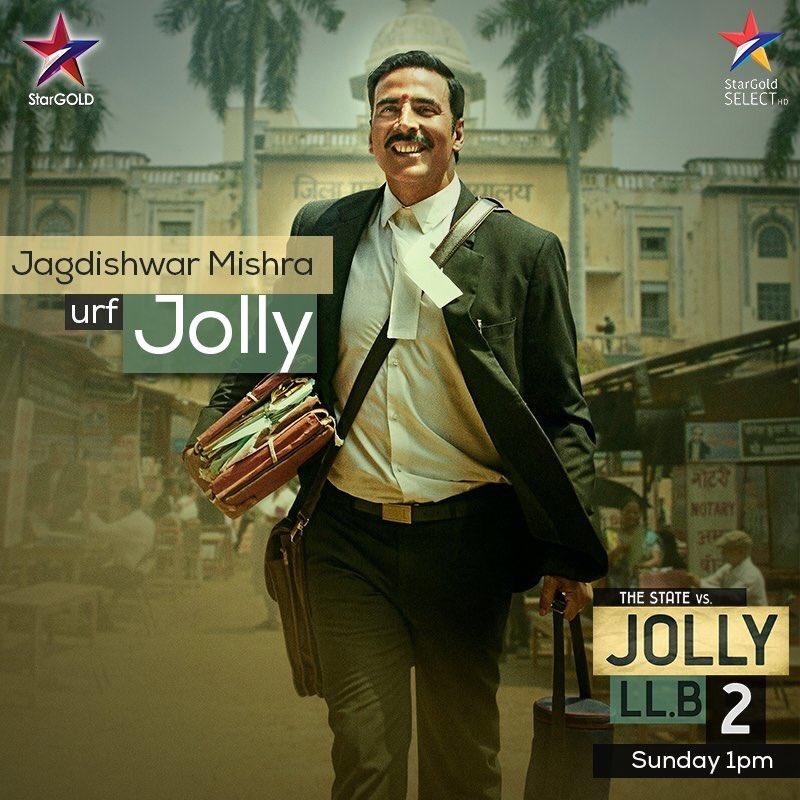 RT @akshaykumar: Muskuraiye, #JollyOnStarGold kal 1 baje 😀 Have a JOLLY good #SundayFunday! #JollyLLB2 https://t.co/idxmmuqgdW