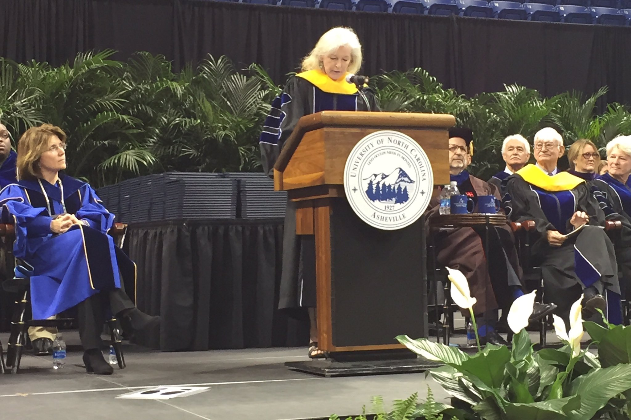 Honored to have alumna and #NobelPrize winner Ko Barrett '94 as our commencement speaker. #UncAvl2017 https://t.co/rPWuCe4lDb
