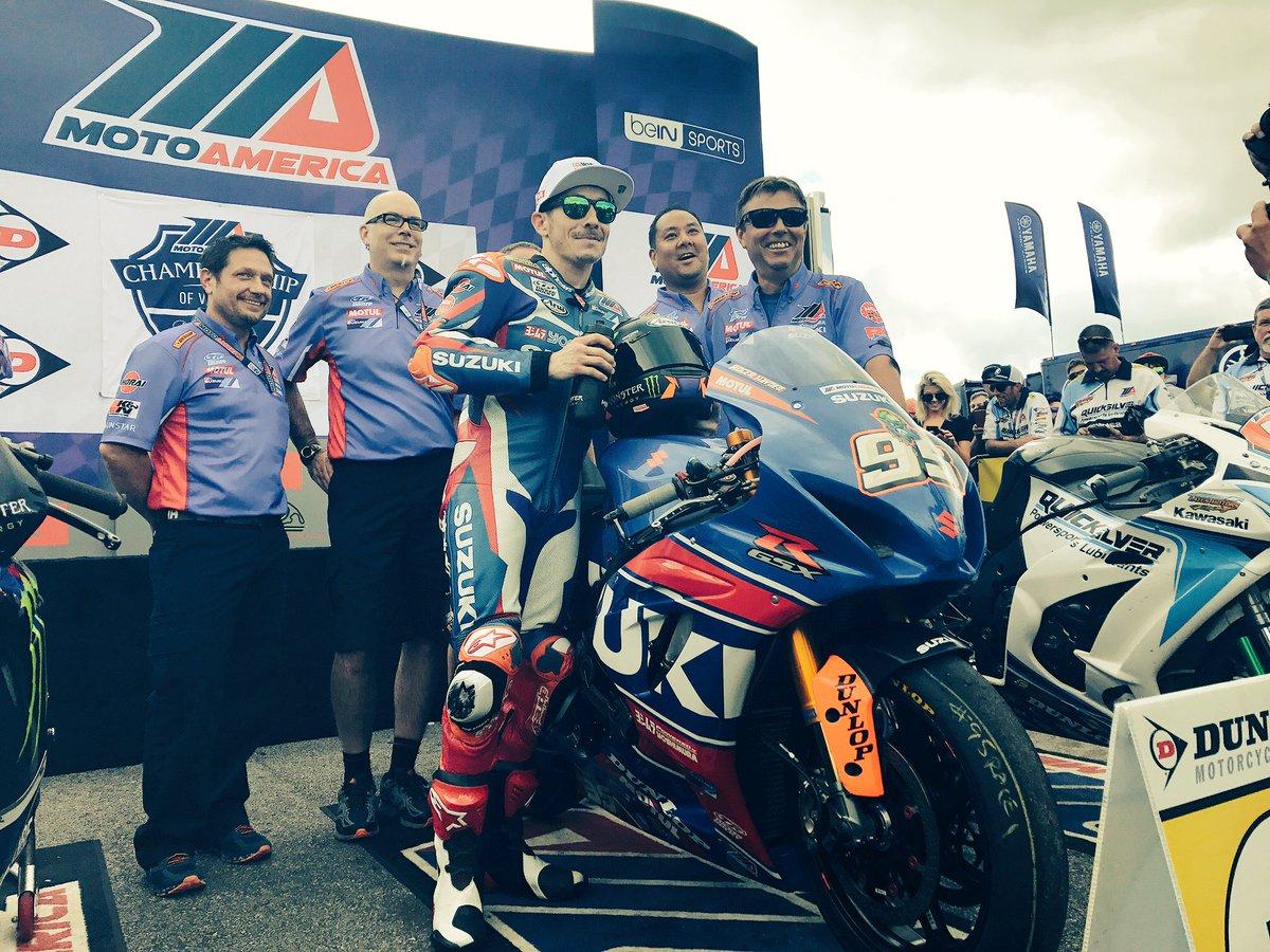 Very happy @YoshimuraUSA @yoshsuzracing team. Congrats @rogerhayden95! #MotoAmerica