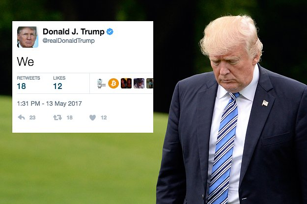 Trump accidentally tweeted just the word 'We' and it started a whole meme https://t.co/EnWC3lt3ca