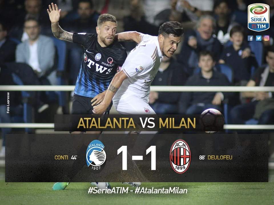 Atalanta-Milan 1-1, la Dea è in Europa League