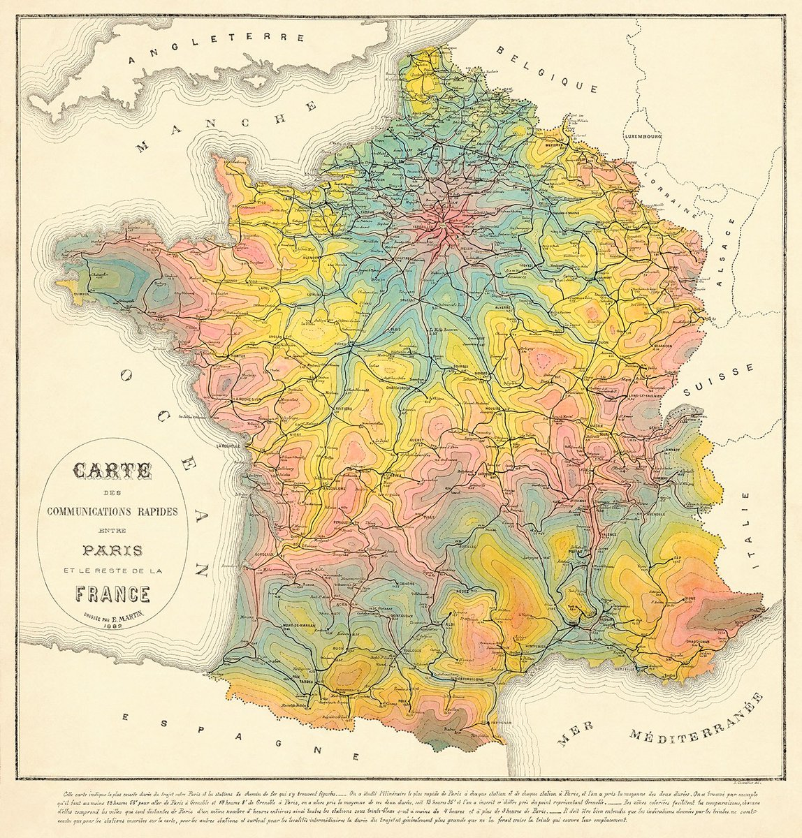 Transit Maps On Twitter This 1882 Isochrone Rail Map Of France Is