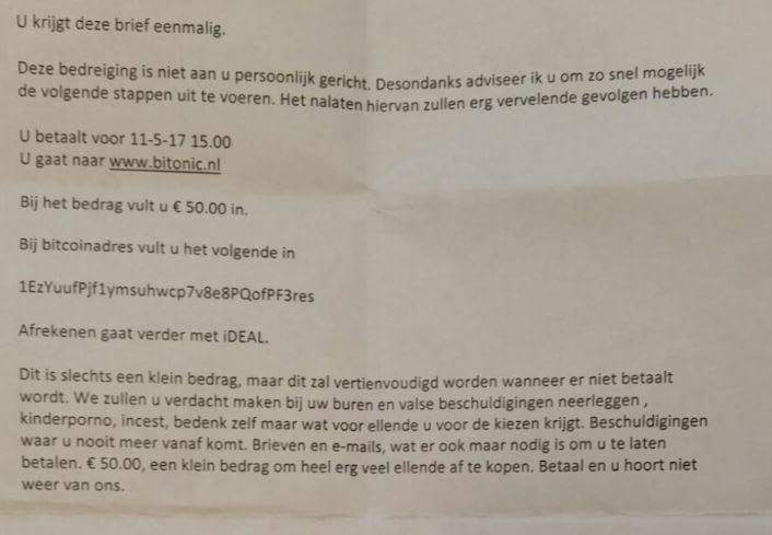 Offline version of ransomware. A door to door letter: Pay or we tell bad stuff about you to the neighbours. https://t.co/eev3m8MenX