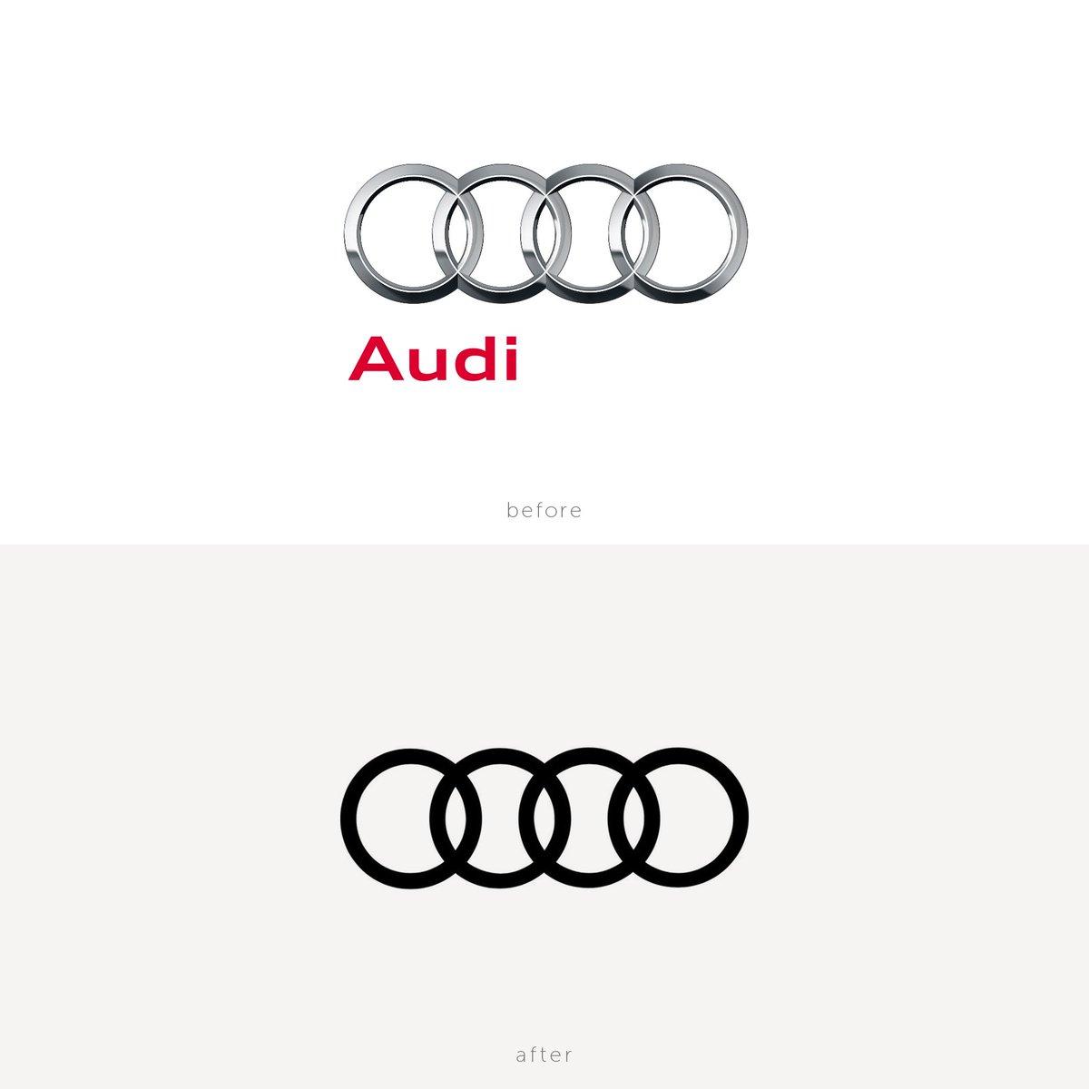 Audiがリブランドの一環でCI/ロゴを変更している。自動車メーカーでよく見られる車のエンブレムを模した立体表現から, ロゴでもトレンドのフラットデザインに。 https://t.co/sWYbaLjn2R
