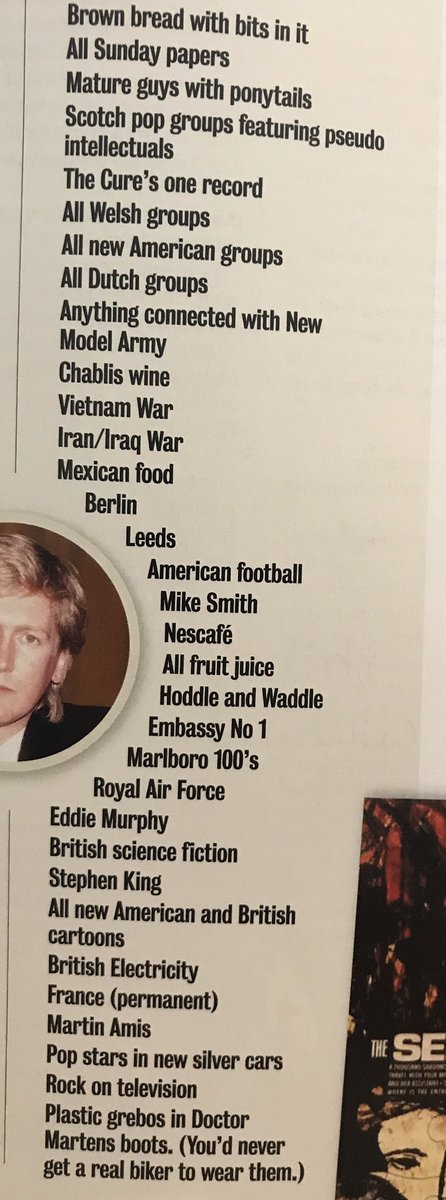 This list of things Mark E Smith doesnt like is amazing https://t.co/wyuJ9DIsjC