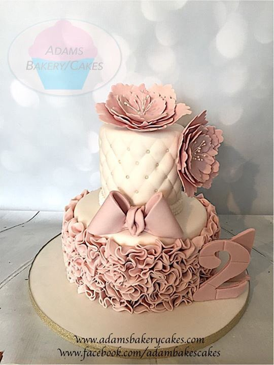 2 Tier 21st Birthday Cake Made To Order For This Weekend Topped With Handcrafted Open Peonies Ruffles And Bow Sheffieldissuper Twitter Com