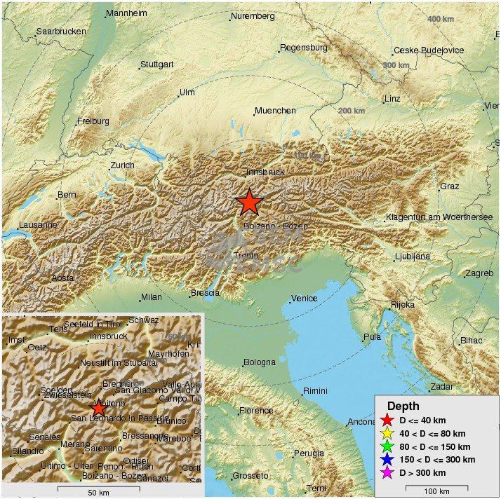 Felt earthquake m30 strikes 24 km nw of bressanone brixen