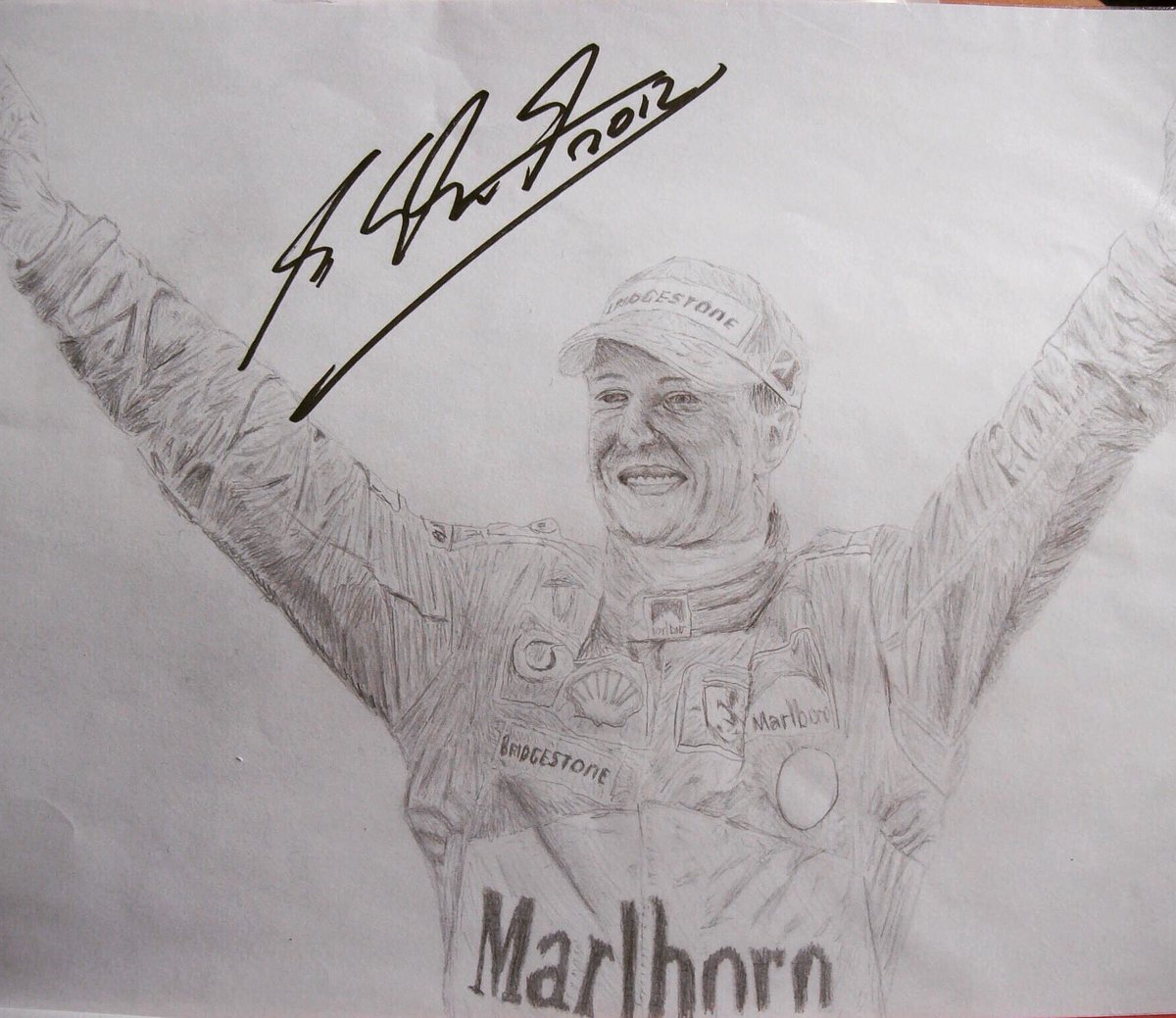 @bbcf1 My drawing of the best driver of all time, signed by the man himself! #KeepFightingMichael #bbcf1 https://t.co/p7YeDouxfJ