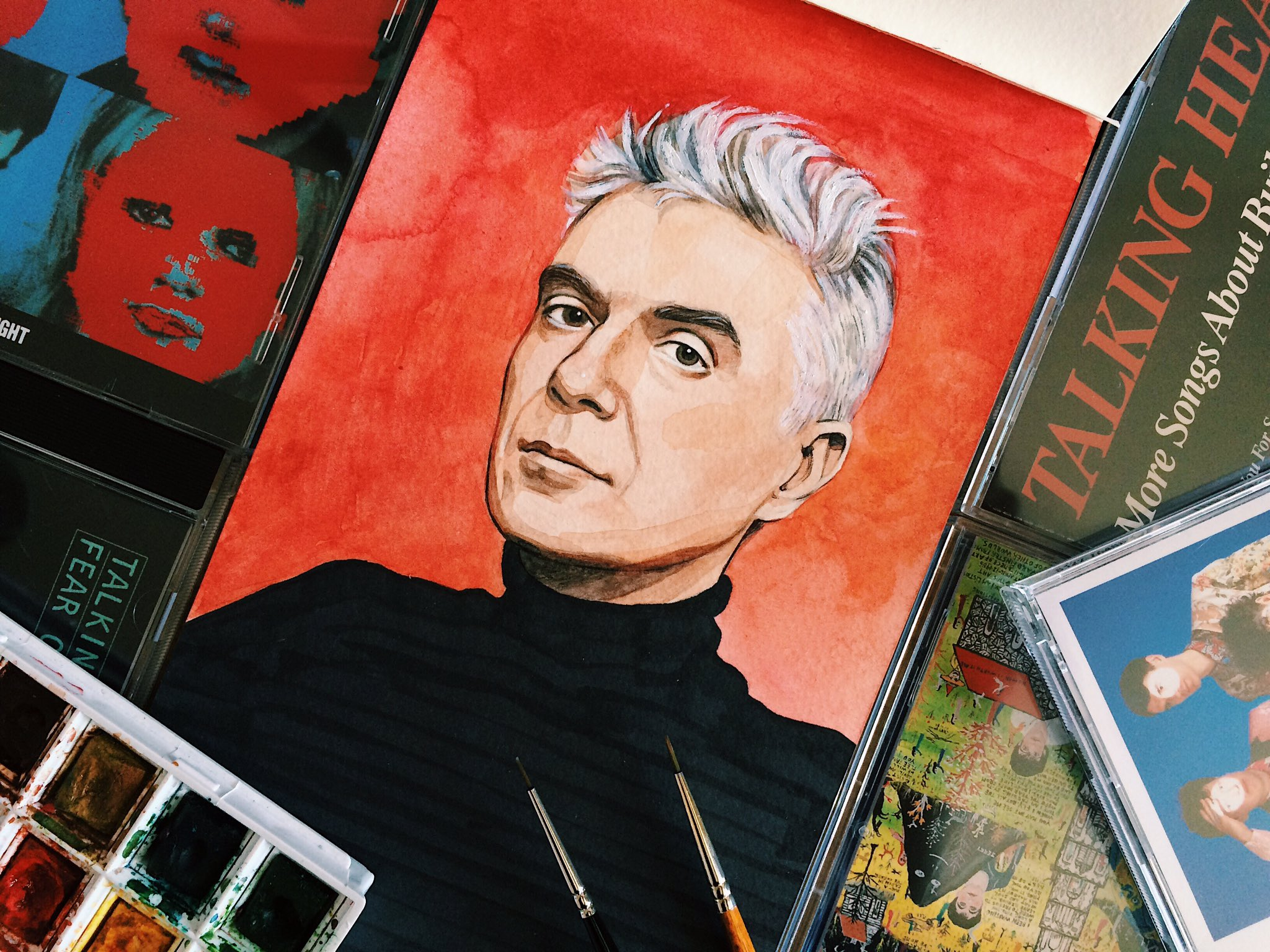 Happy 65th birthday to the brilliant David Byrne! (a long overdue portrait)