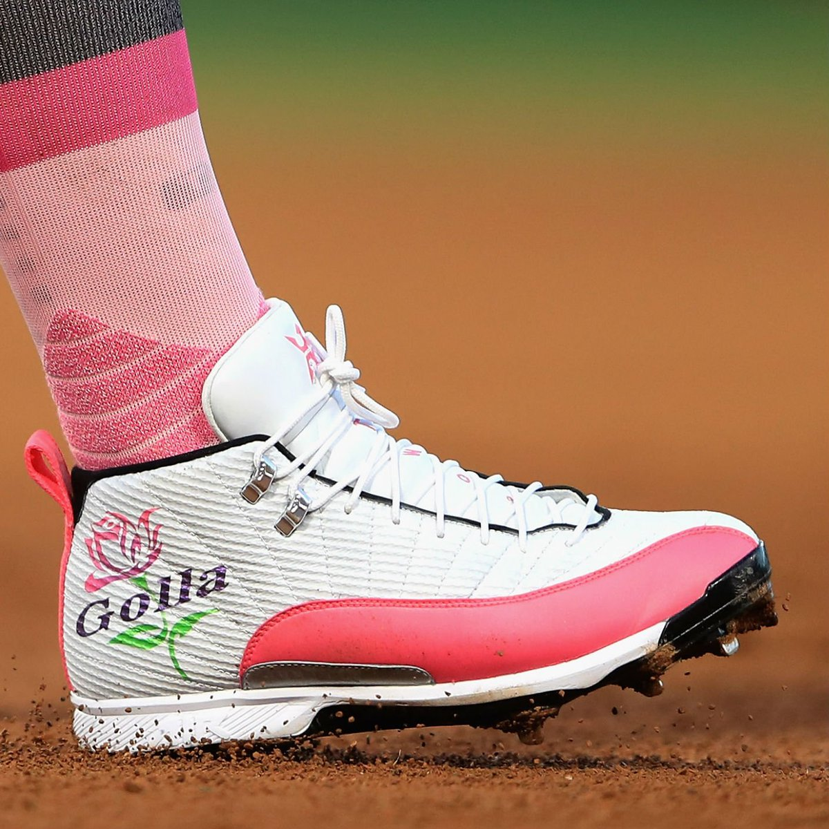 0bfc35b3396 solewatch miguelcabrera wearing custom air jordan 12 cleats by sotocustoms  for mother s day