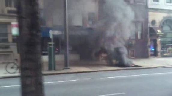 - Smoke pouring from vent on 2100 block of Walnut Street. From viewer @ChrisPetersPR