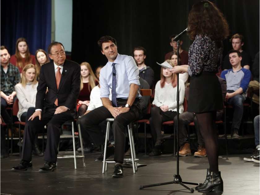 Glebe students grill Trudeau, UN Secretary General on Middle East ottnews cdnpoli