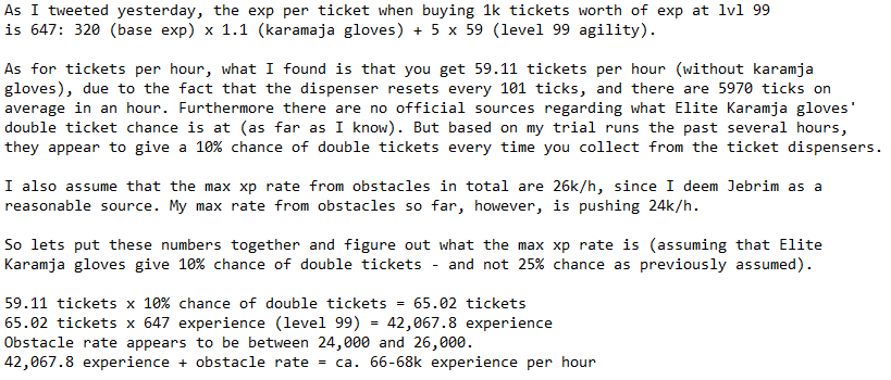 Oslo On Twitter Max Exp Rate For Brimhaven Agility Arena Based