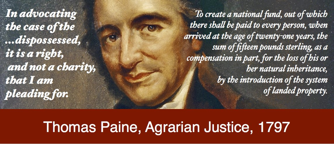 Thomas Paine, Agrarian Justice, 1797 on rights, not charity  #GLI #UBI #basicincome https://t.co/oVvOAWnRIE