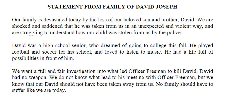 Statement from the family of David Joseph, killed by an Austin police officer on Monday.
