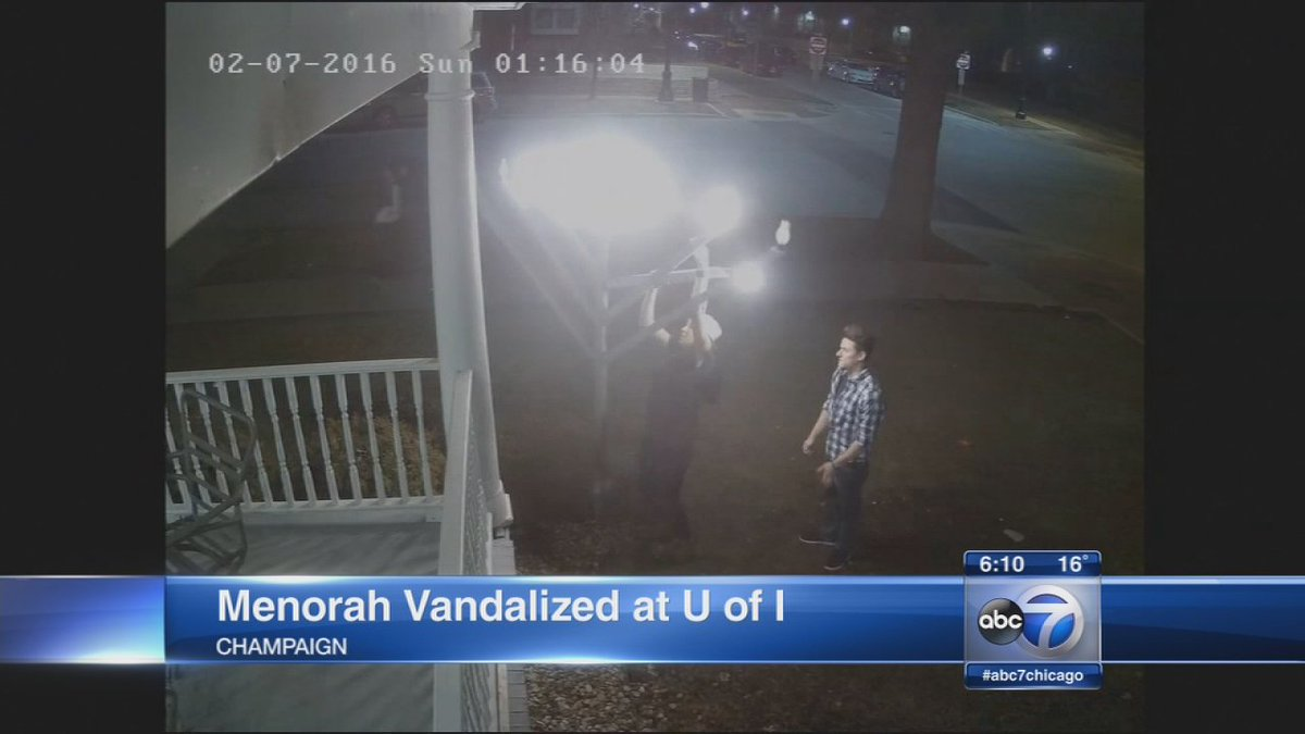 captures menorah at U of I vandalized for 3rd time in 10 months... WATCH